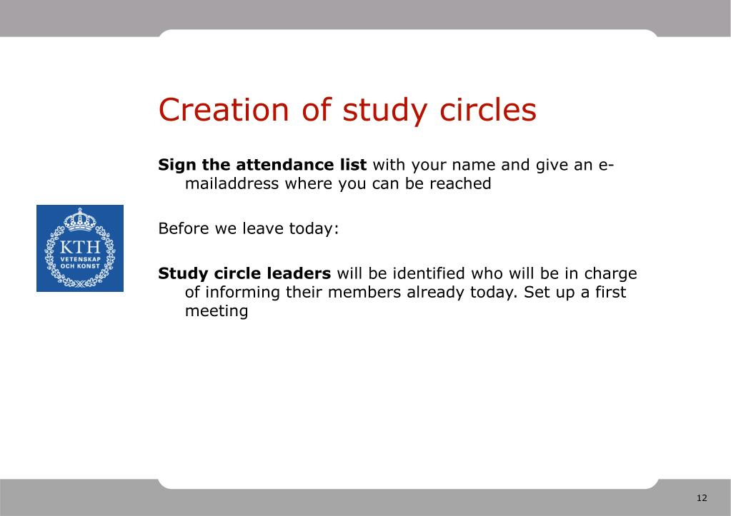 Creation of study circles
