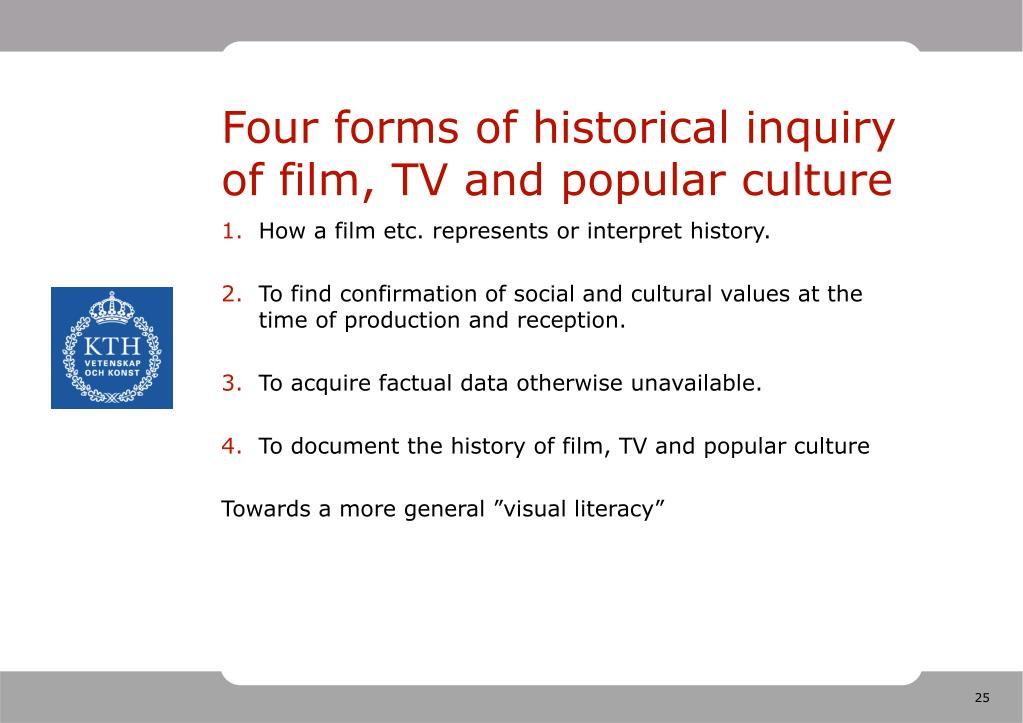 Four forms of historical inquiry of film, TV and popular culture