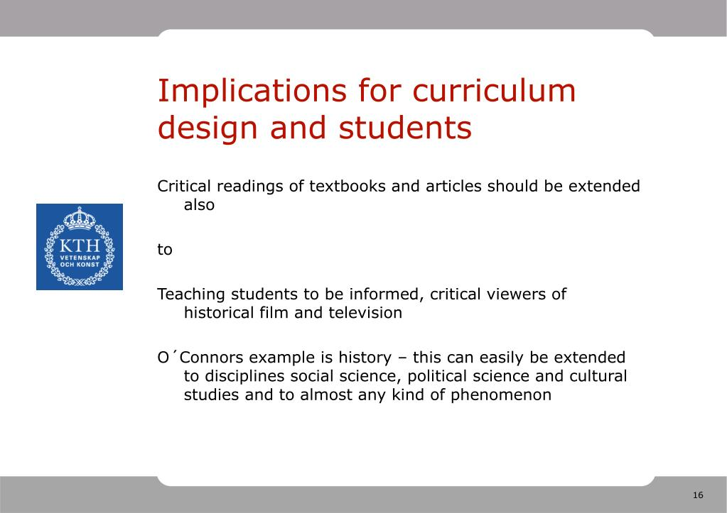 Implications for curriculum design and students