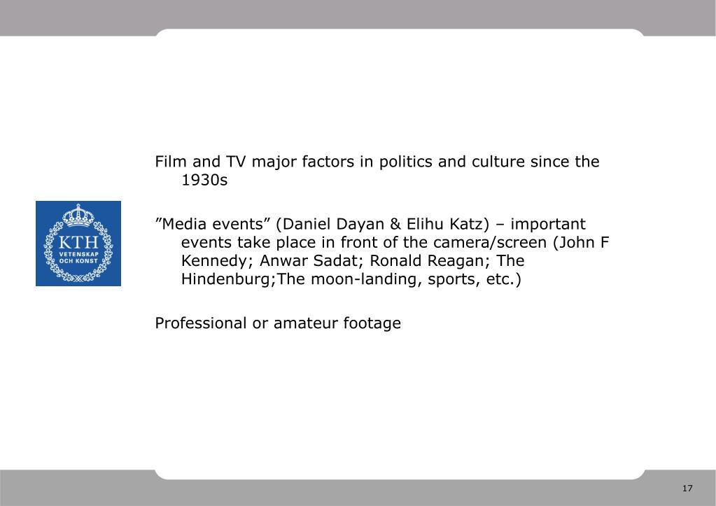 Film and TV major factors in politics and culture since the 1930s