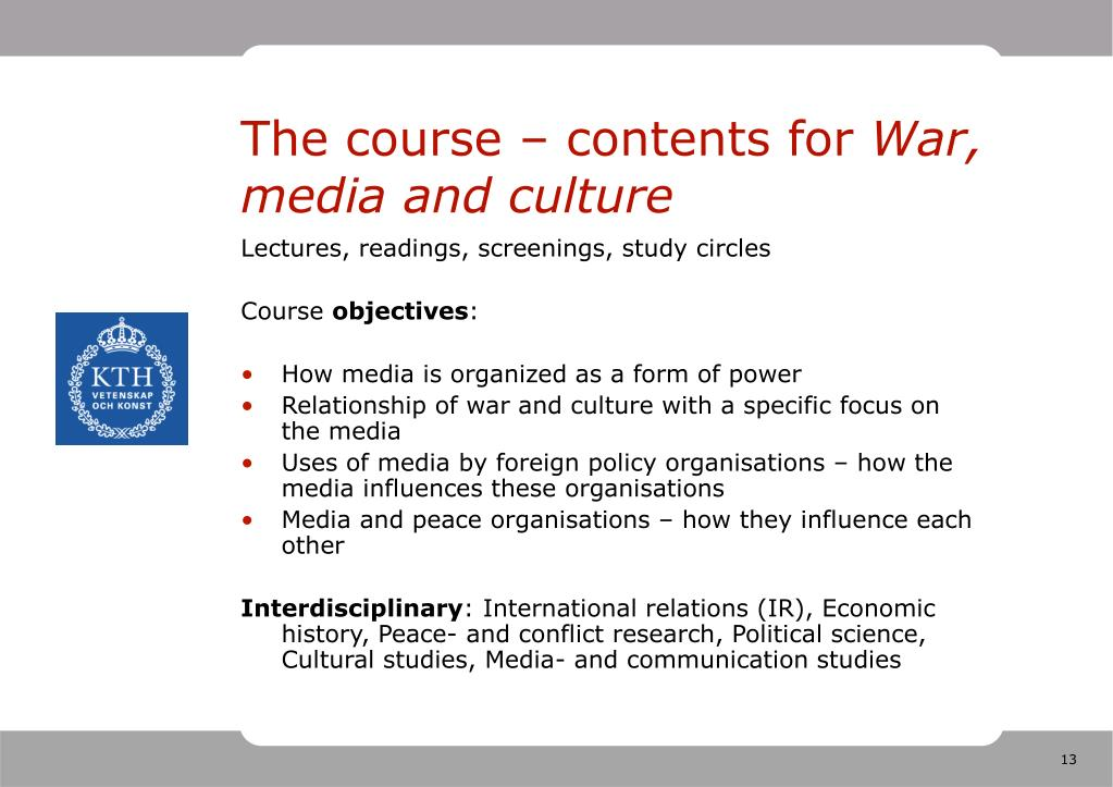 The course – contents for