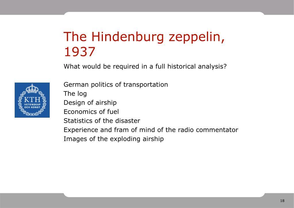 The Hindenburg zeppelin, 1937