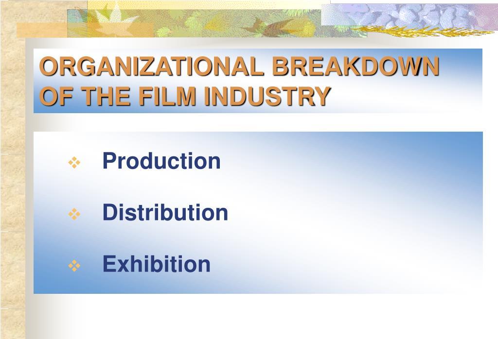 ORGANIZATIONAL BREAKDOWN OF THE FILM INDUSTRY