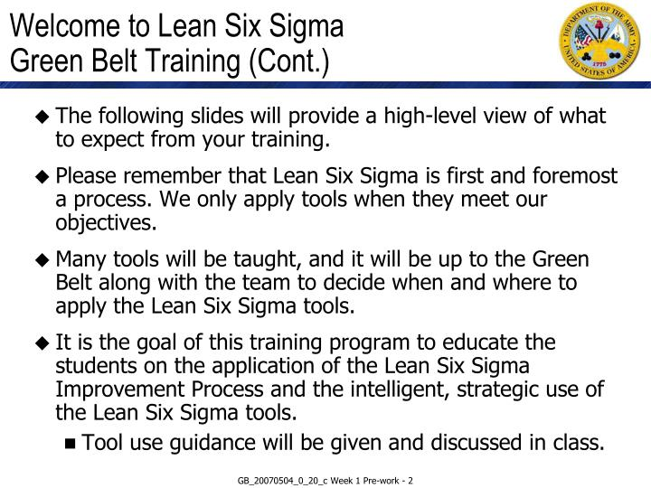 Welcome to lean six sigma green belt training cont