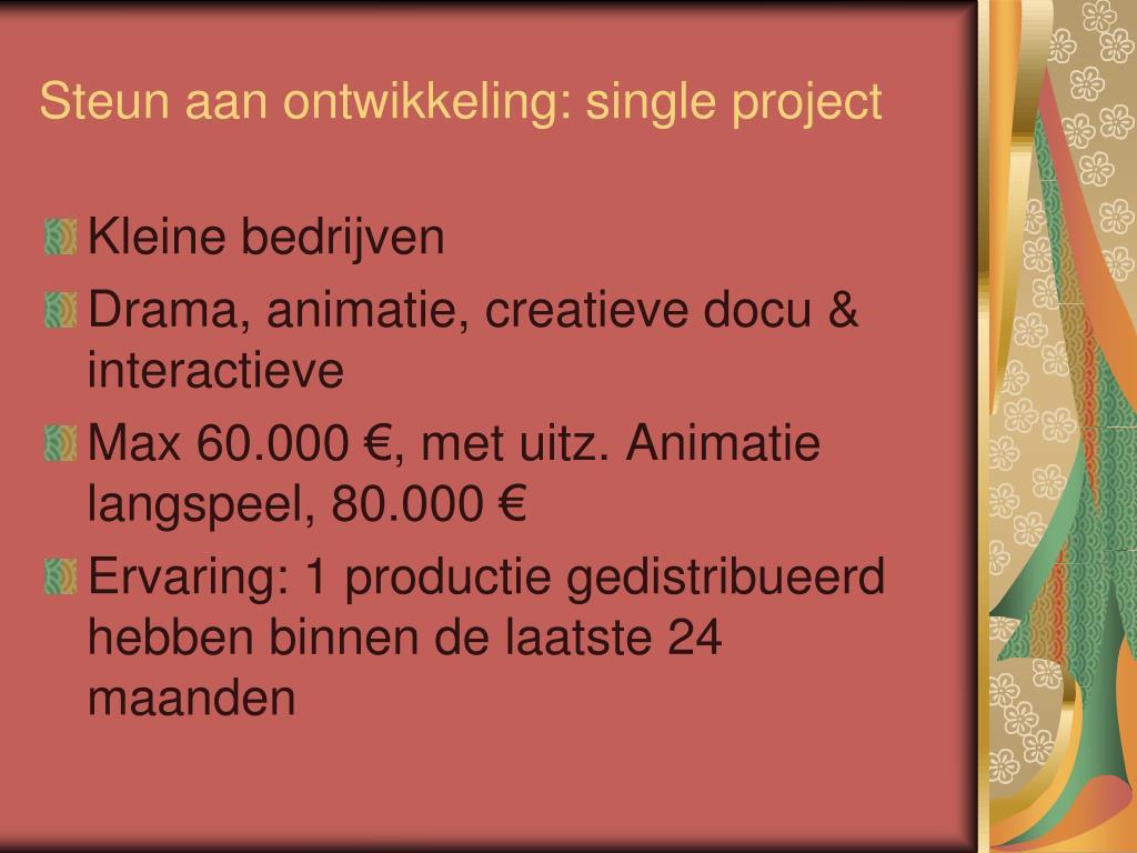 Steun aan ontwikkeling: single project