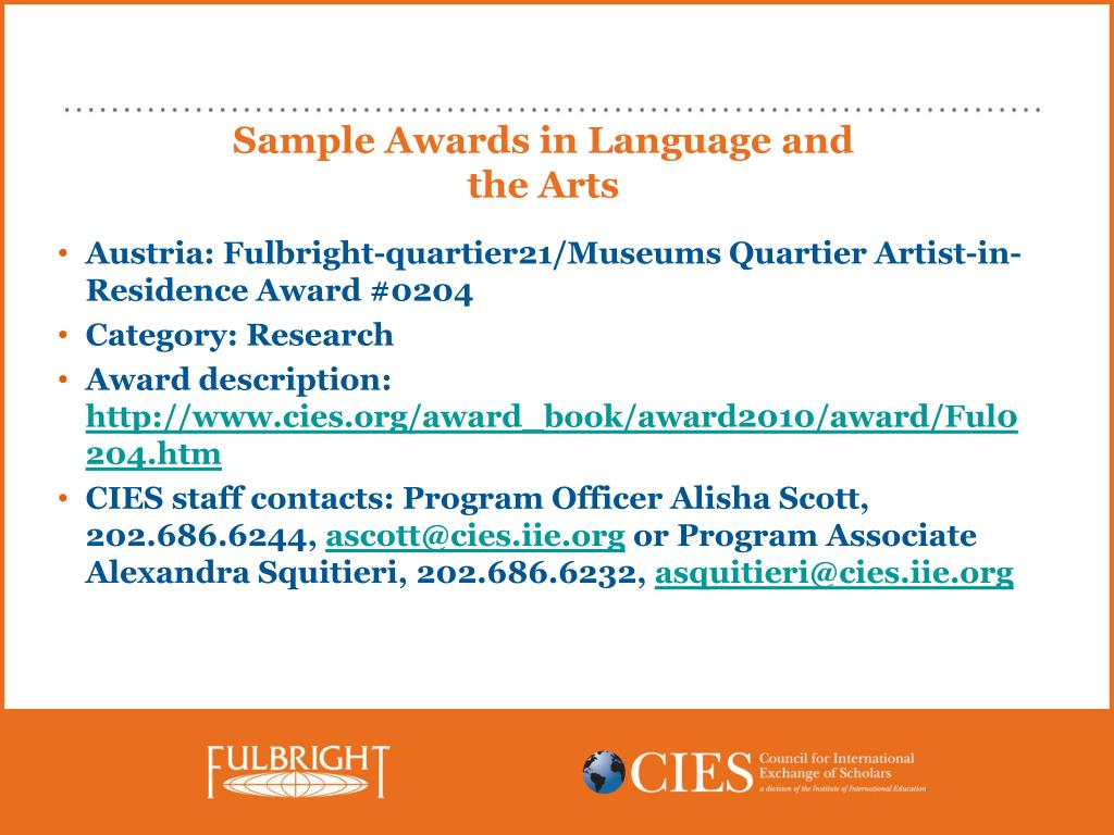 Sample Awards in Language and the Arts