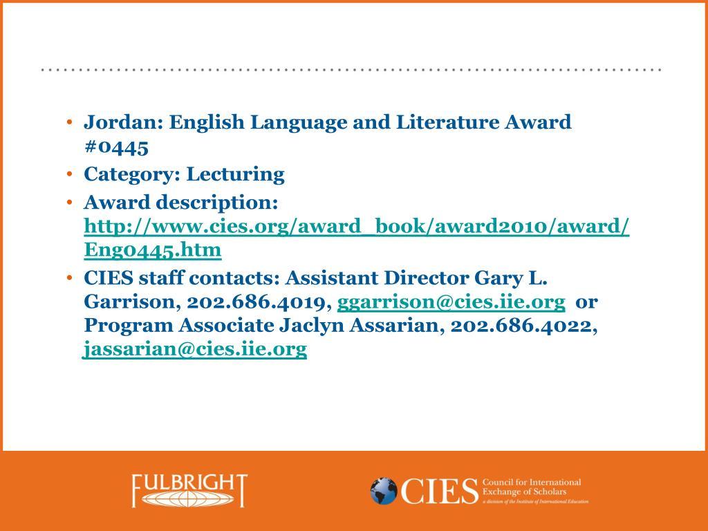 Jordan: English Language and Literature Award #0445