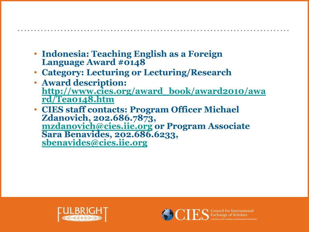 Indonesia: Teaching English as a Foreign Language Award #0148