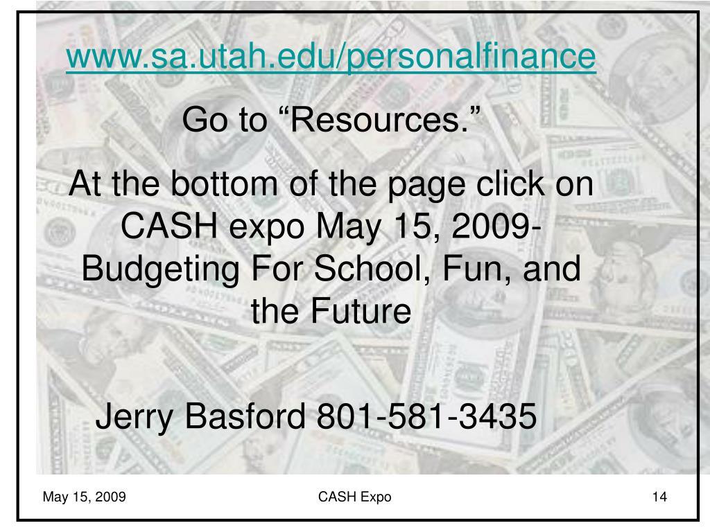 www.sa.utah.edu/personalfinance