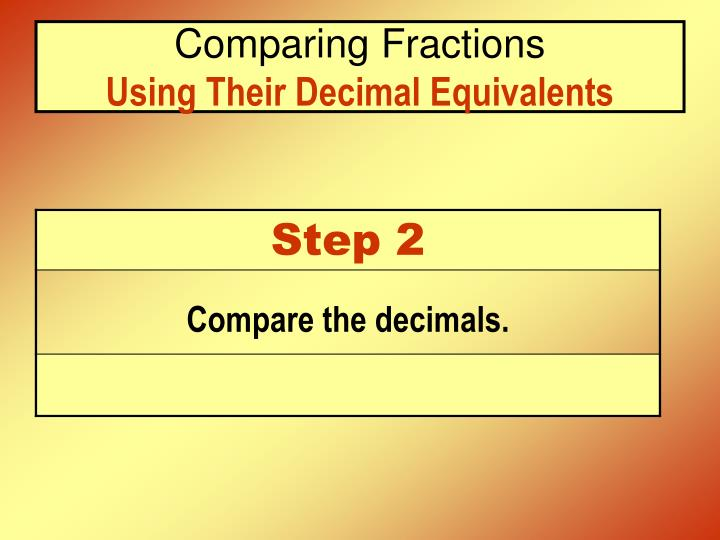 Comparing fractions using their decimal equivalents3