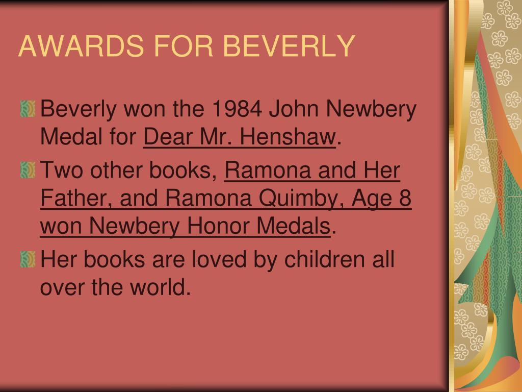 AWARDS FOR BEVERLY