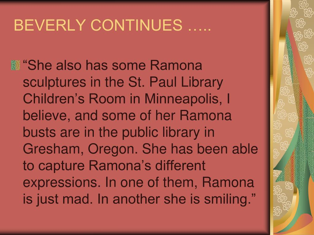 BEVERLY CONTINUES …..