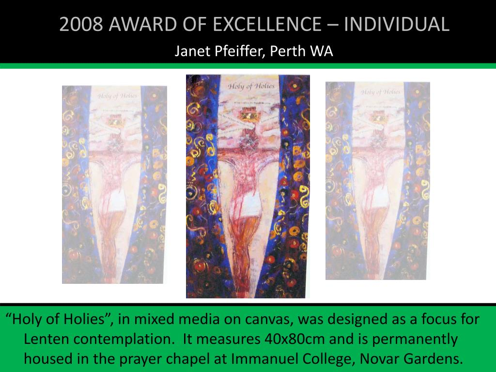 2008 AWARD OF EXCELLENCE – INDIVIDUAL