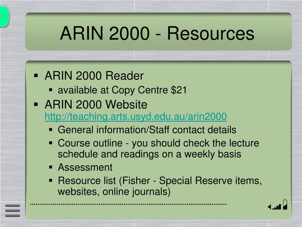 ARIN 2000 - Resources