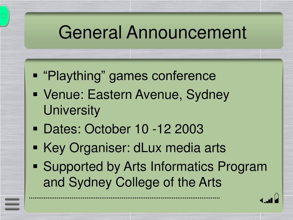 General Announcement
