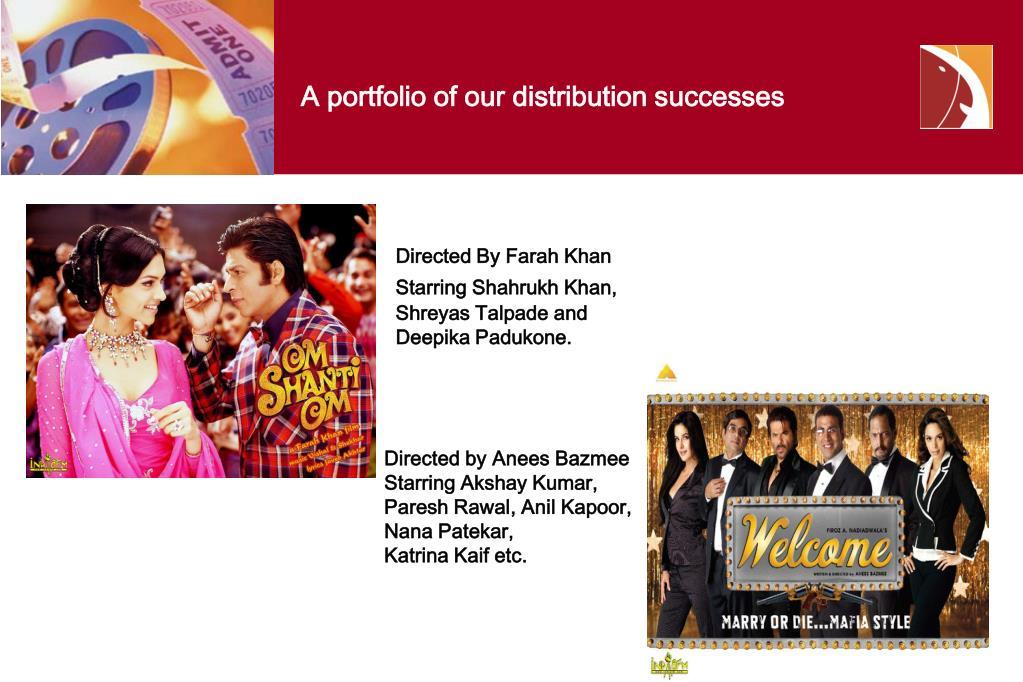 A portfolio of our distribution successes