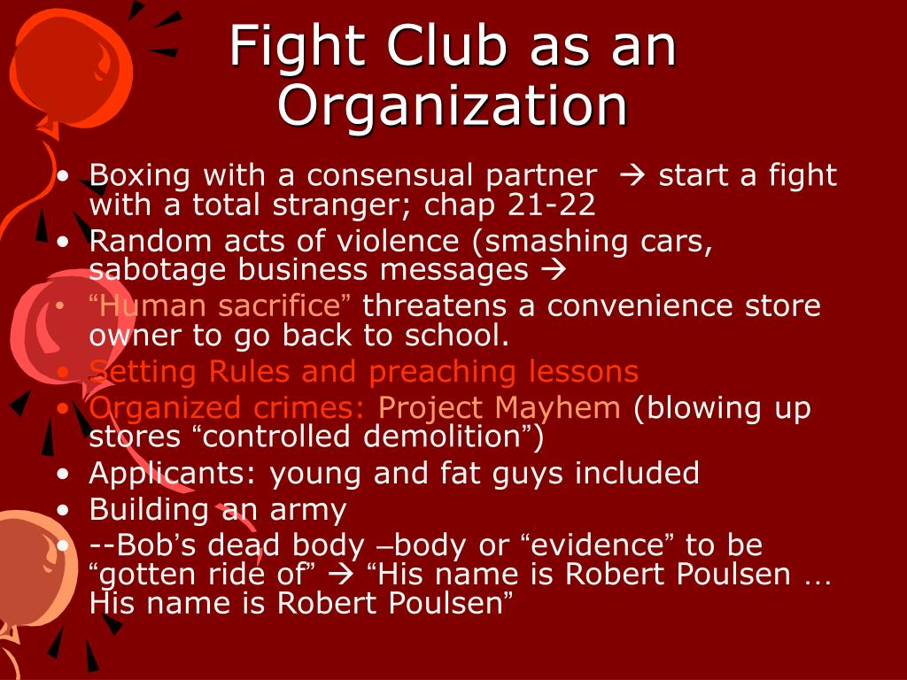 Fight Club as an Organization