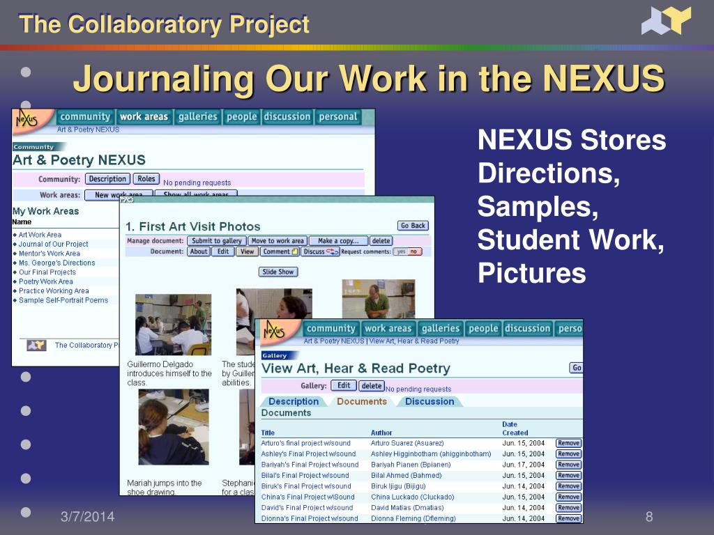 Journaling Our Work in the NEXUS