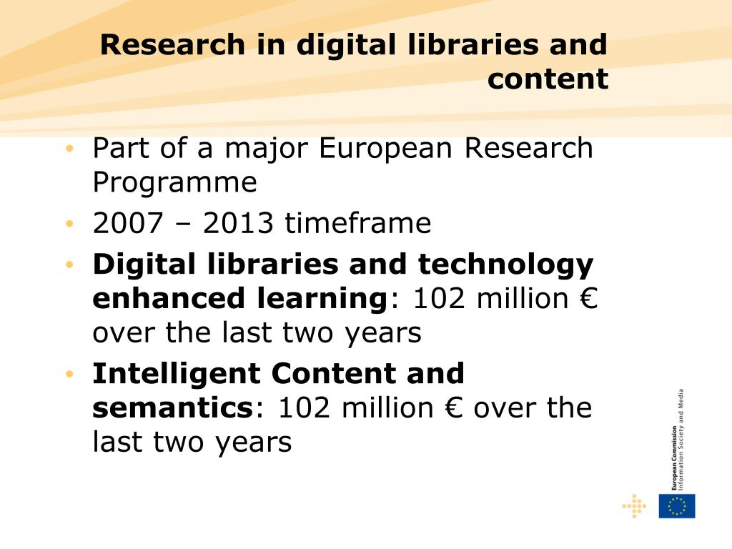 Research in digital libraries and content
