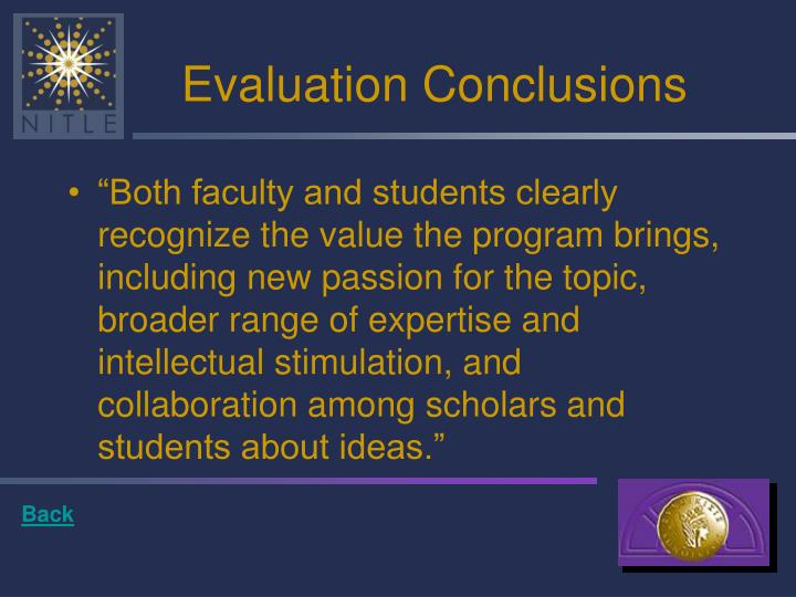 Evaluation Conclusions