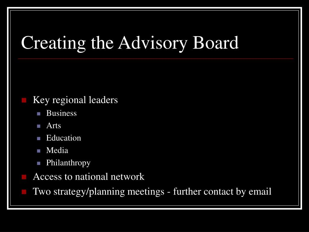 Creating the Advisory Board