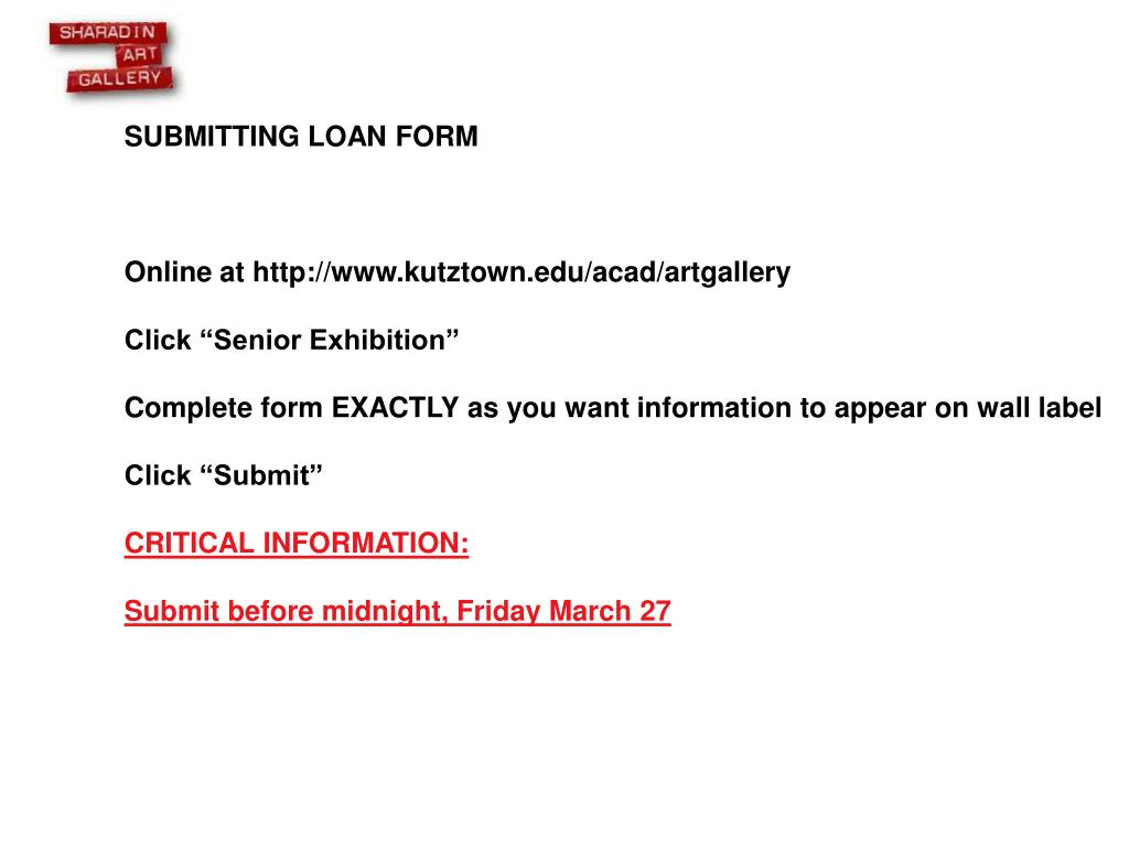SUBMITTING LOAN FORM