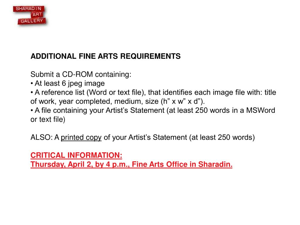 ADDITIONAL FINE ARTS REQUIREMENTS
