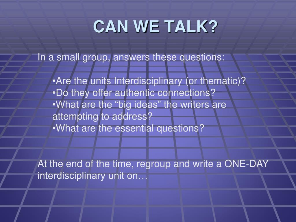 In a small group, answers these questions: