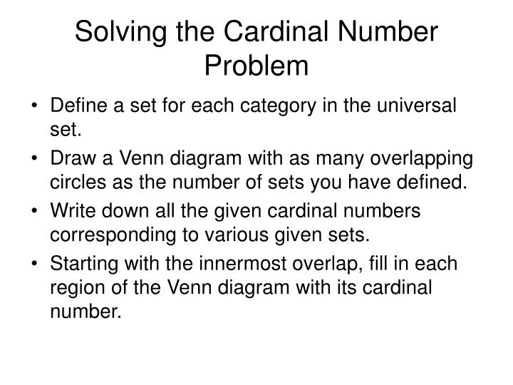 Solving the cardinal number problem