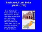 shah abdul latif bhitai 1689 1752