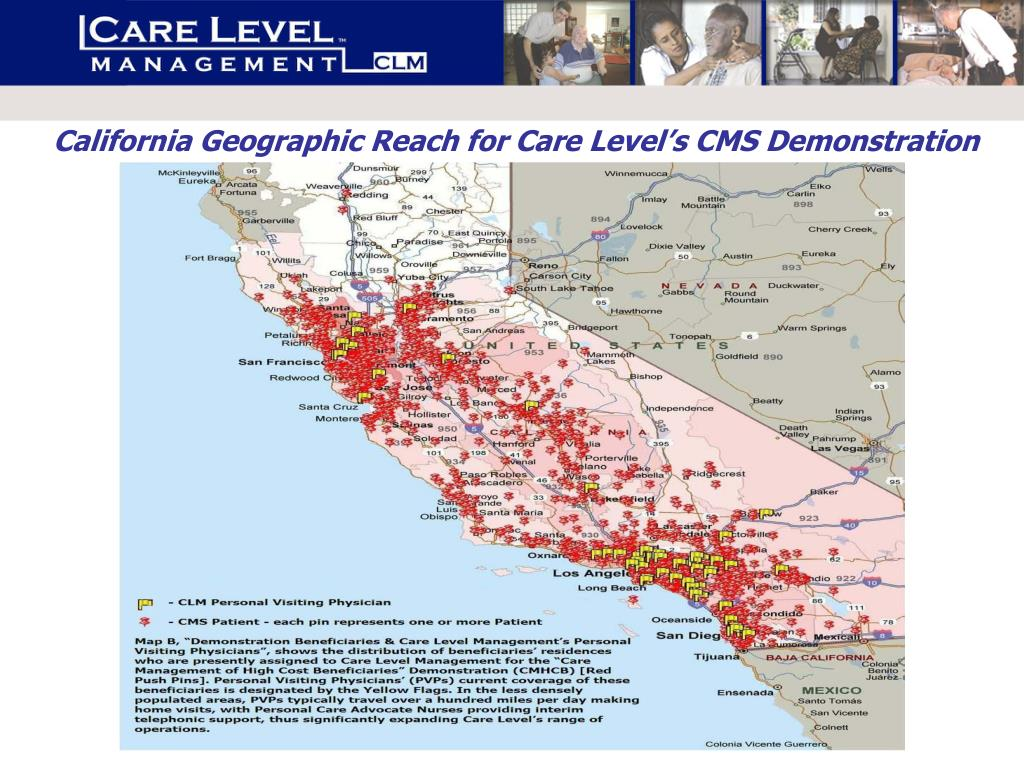 California Geographic Reach for Care Level's CMS Demonstration