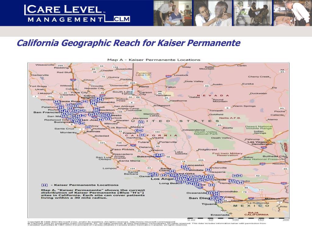 California Geographic Reach for Kaiser Permanente