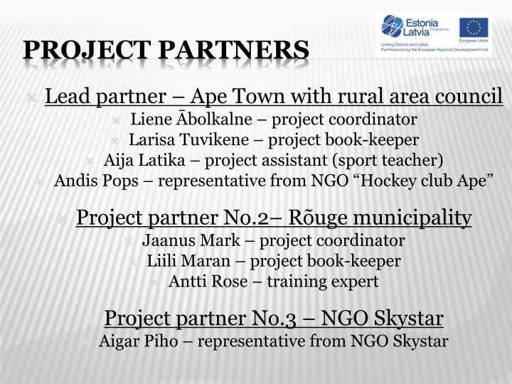 Lead partner – Ape Town with rural area council