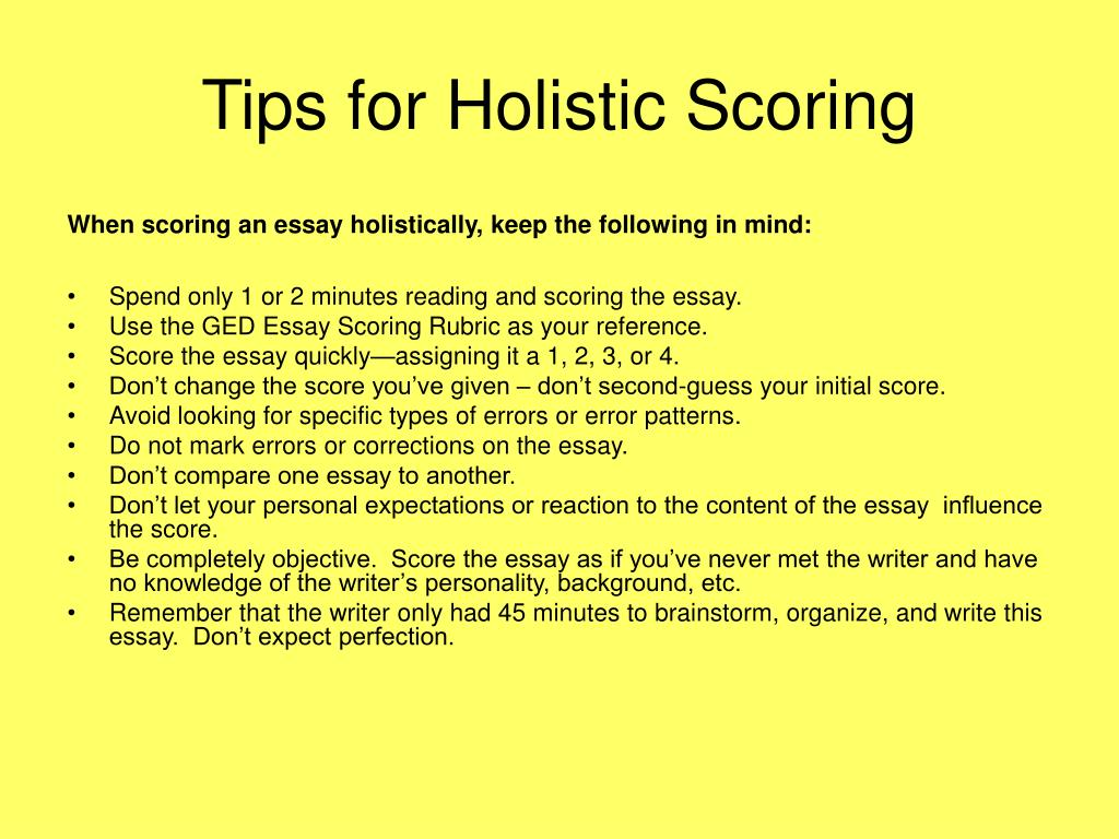 Tips for Holistic Scoring