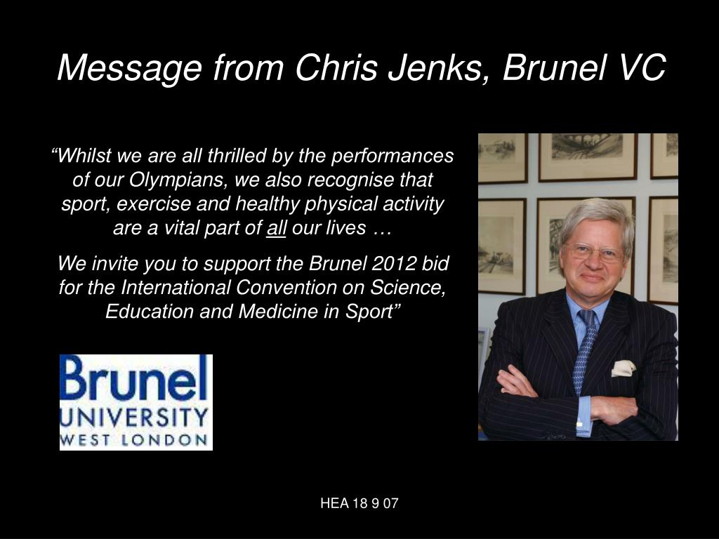 Message from Chris Jenks, Brunel VC