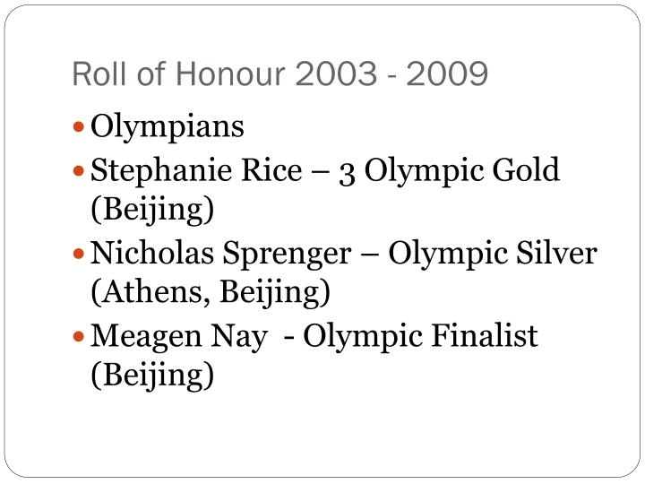 Roll of honour 2003 2009