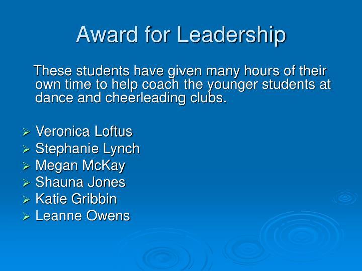 Award for Leadership