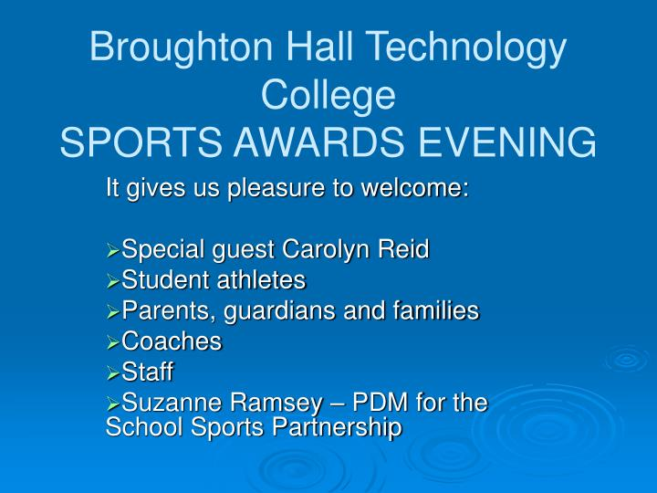 Broughton hall technology college sports awards evening