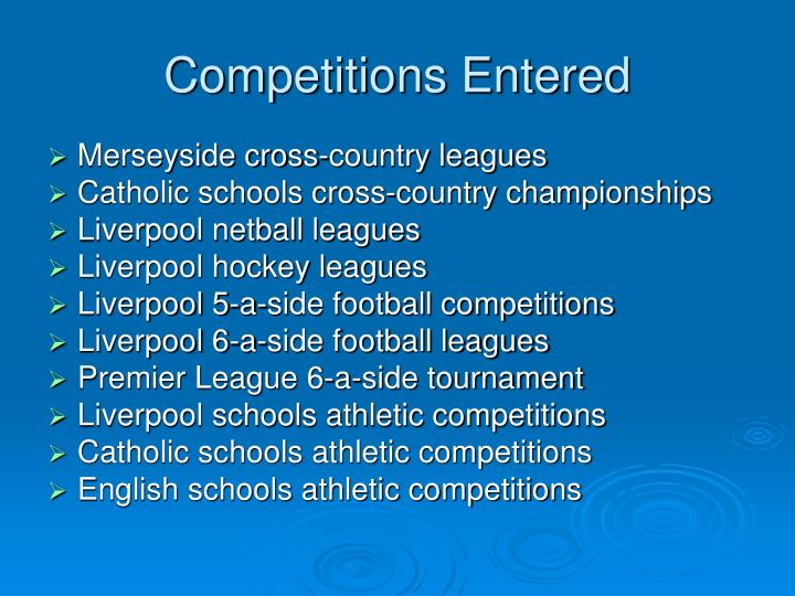 Competitions Entered