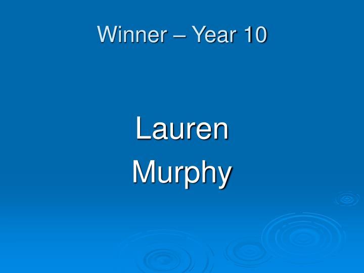 Winner – Year 10