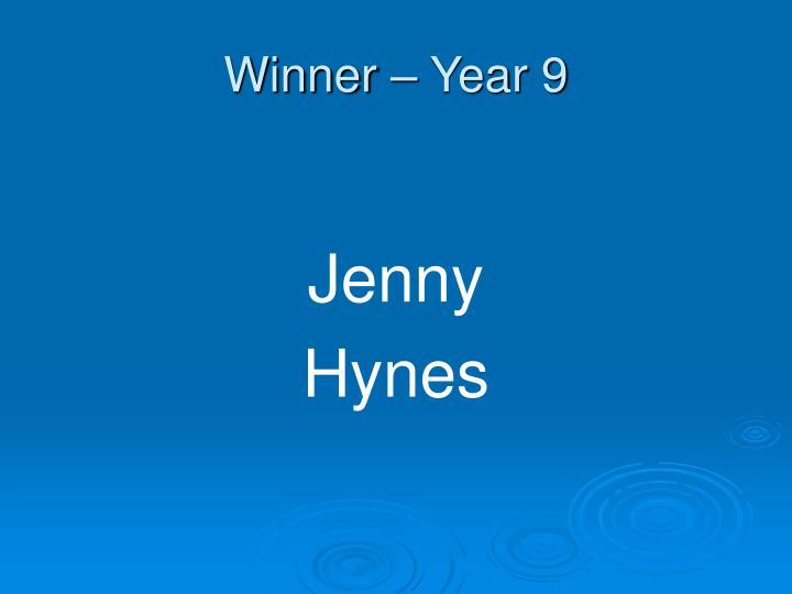 Winner – Year 9
