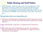 public hearing and tariff orders