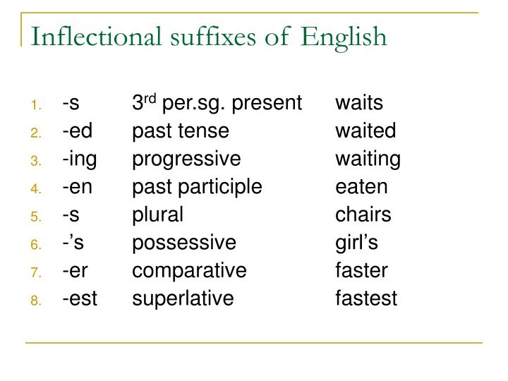 Inflectional suffixes of English