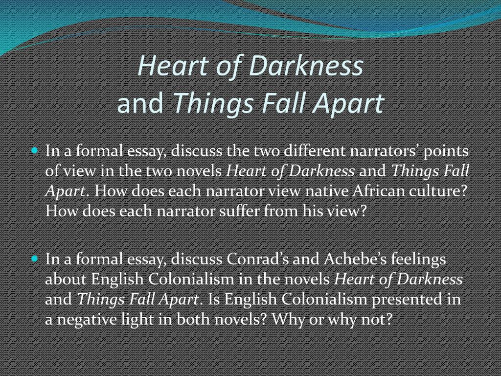 essays on heart of darkness analysis Heart of darkness contains two layers of narration the outer narrator is a passenger on the pleasure ship the nellie, who hears marlow recount one of his inconclusive experiences (21) as a riverboat captain in africa.