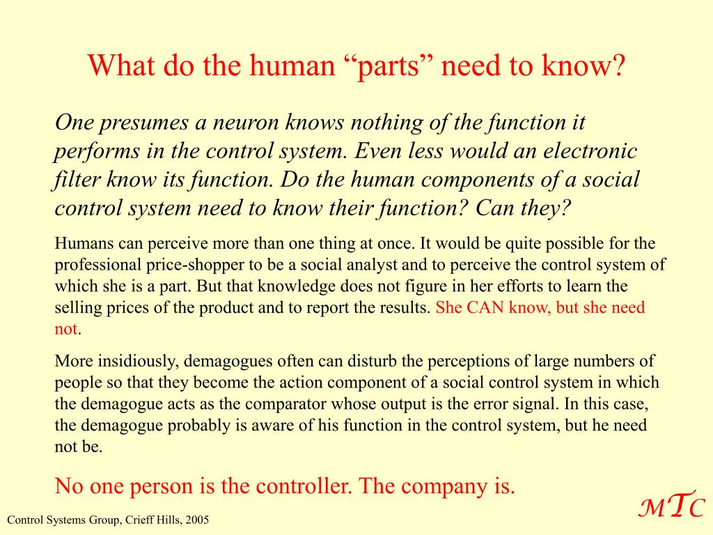 """What do the human """"parts"""" need to know?"""