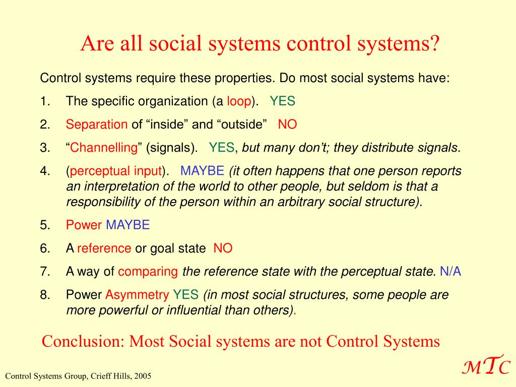 Are all social systems control systems?