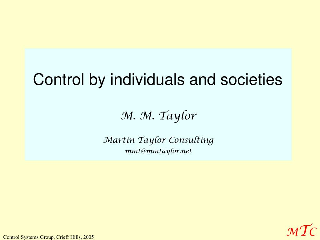 Control by individuals and societies