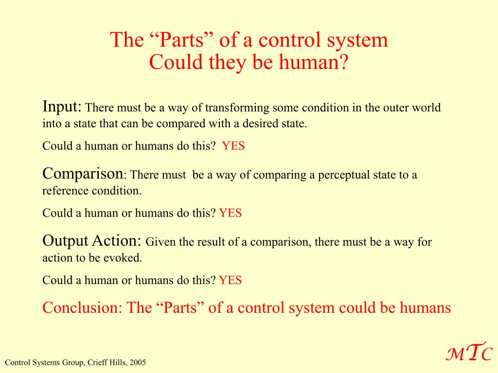 """The """"Parts"""" of a control system"""