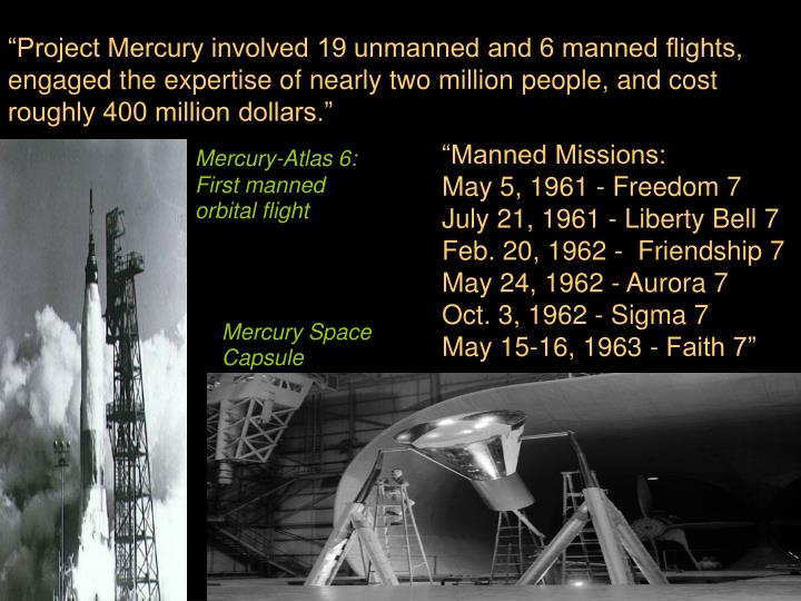 """Project Mercury involved 19 unmanned and 6 manned flights, engaged the expertise of nearly two mi..."