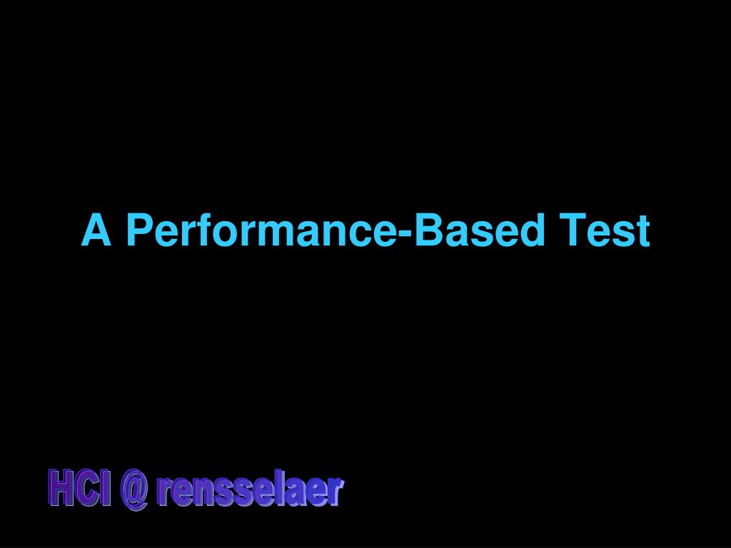 A Performance-Based Test